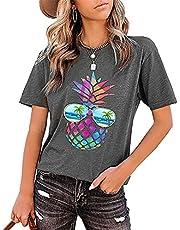 CawBing Gepersonaliseerde T Shirt UK, Ananas Bril T-Shirt Tops, Womens Zomer Kleding