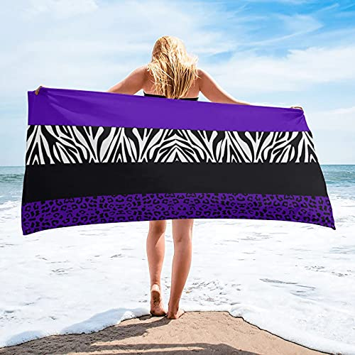 Toalla de baño de baño de Rayas de Cebra de Leopardo púrpura Toallas de Playa de Microfibra Toalla de Golf de Secado rápido Suave Deportiva - 30 * 30cm