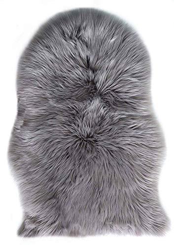 [ZESHANG YI]フェイクシープスキンラグ ムートンマット 洗える 人工ウールマット 長毛 ふんわり 柔らか滑り止め付き高級感あるソファシートマットリビングルームラグ (グレー, 60 X 90 CM)