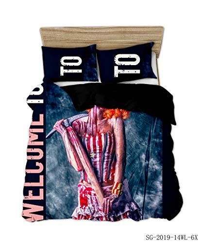 XLLJA Bettbezug Set,3D Polyester Baumwolle schädel Serie bettwäsche Set, bettbezug mit Kissenbezug, kinderzimmer, super King-s_200 * 230 cm (3pcs)