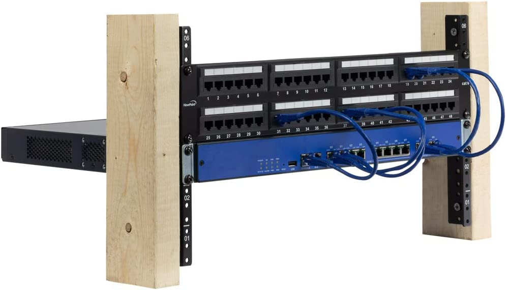 NavePoint 10U Vertical Rack Rail Pair DIY Kit with Hardware, Black