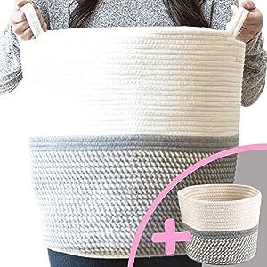 Little Hippo 2pc Large Cotton Rope Basket, White (16″x15″) 100% Natural Cotton! Laundry Basket, Woven Storage Basket, Blanket Basket Living Room, Toy Storage Basket, Pillow Basket, Round Basket