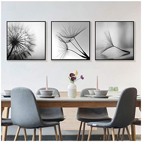 sjkkad Pissenlit Image Home Decor Mur Art Nordic Toile Peinture Modern Frais Décor Impressions et aapjes Pour Salon -50x50cm No Frame