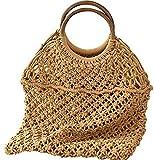 UWY Bolsa de Paja, los Mejores Accesorios para niñas y Mujeres, Bolsa de algodón portátil, Bolsa de Playa con Red de Pesca (marrón, (11,8 x 12,6 x 4,3 x 12,6 Pulgadas))