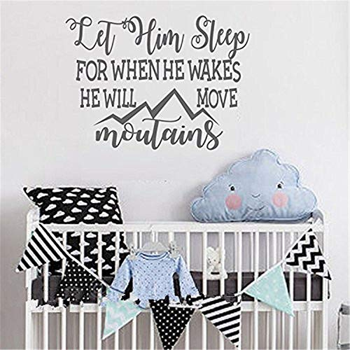 stickers muraux rose enfant Let Him Sleep For When He Wakes He Will Move Mountains Wall Decal Quote- Nursery Wall Art- Boys Wall Decal- Kids Boys Room Vinyl Lettering