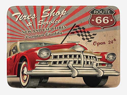 Alfombrilla de baño para coches, diseño de ruta 66, diseño retro, 40 x 60 cm, color gris