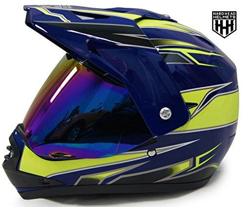 SmartDealsNow DOT Youth & Kids Helmet for Dirtbike ATV Motocross MX Offroad Motorcyle Street bike Helmet (Large, Blue & Green)