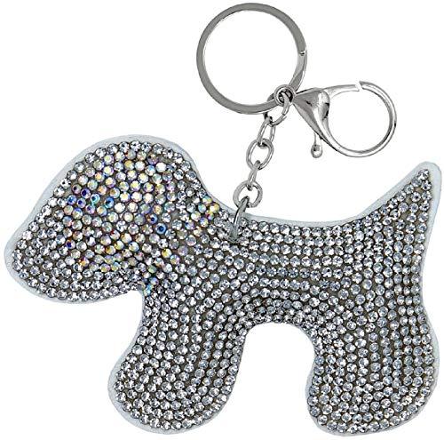 Schlüsselanhänger Hund mit Glitzer-Steinen, Anhänger für Damen und Kinder, Taschenanhänger, Kofferanhänger (weiß)