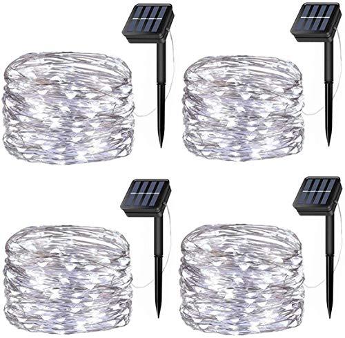 Wishlink 33FT 100LEDs Solar Lichterketten Kupferdraht Outdoor String Fairy Wasserdichte Lichter 8 Modi Solarbetriebene Lichter für Zuhause Weihnachtsdekoration Garten Patios Partys (White, 4Pcs)