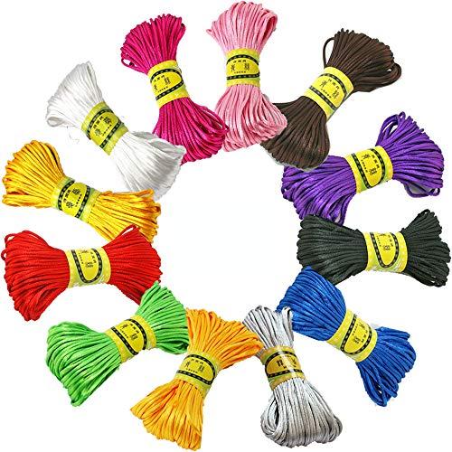 12 Pezzi 25mm di Filo di Nylon di Seta, per la Collana Intrecciata Braccialetto Che borda Accessorio per la Creazione di Gioielli, 20 Metri Ogni Pacco (12 Colori) (B)