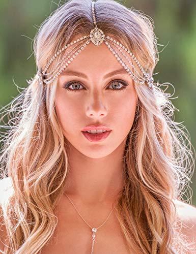 Missgrace Women Bohemian Rhinestones Gold Silver Head Chain Hair Accessories for Bridal and Girls (Silver)