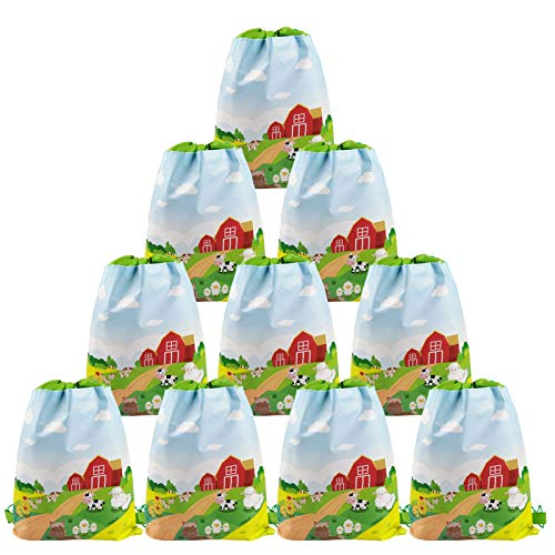 Cieovo 12 Pack Farm Animal Party Favor Bags  Barnyard Gift Treat Goody Drawstring Backpacks Centerpiece Decorations for Farm Theme Kids Birthday Baby Shower Classroom Party Supplies