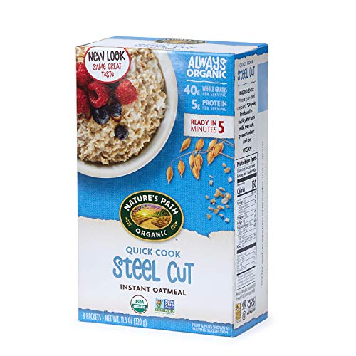 Nature's Path Organic Instant Oatmeal, Quick Cook Steel Cuts Oats, 48 Packets (Pack of 6, 11.3 Oz Boxes)