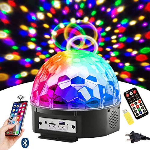 Bluetooth Disco Ball Lights, 9 Colors LED Party Lights DJ Sound Activated Rotating Lights Wireless Phone Connection with Bluetooth Speaker MP3 Play and Remote for Home KTV Wedding Dance Show