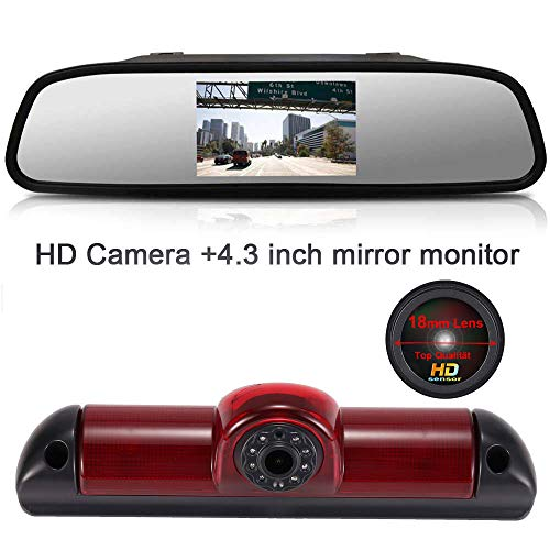 【Super HD Rückfahrkamera Set】4.3\'\' Rückspiegel Monitor + 1280*720 Pixel 1000TV Linien HD Nachtsicht Bremsleuchte Rückfahrkamera für FIAT Ducato X250 X290 Bus Kasten /Peugeot Boxter/Citroen Jumper
