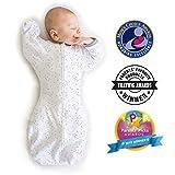 Amazing Baby by Swaddledesigns, Saquito de Algodn de Transicin Para Beb con Manoplas y Movimiento Libre Swaddle Sack with Arms Up, Confeti, Plata, Pequeo 0-3 Meses
