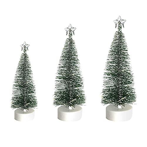 Mini árbol de Navidad con cadena de luces funciona con pilas, decoración de Navidad, decoración del hogar, cedro luminoso LED árbol de Navidad (verde)