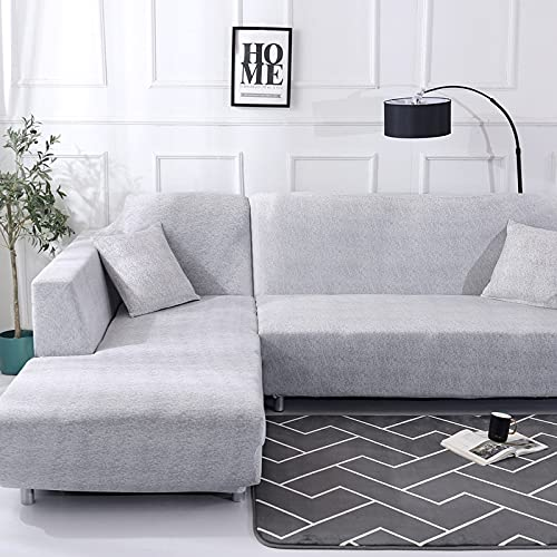 Living Room Solid Color Printing Corner Sofa Cover Elastic Sofa Cover U-Shaped Sofa Cover L-Shaped Stretch 1 2 3 4-Seater A23 3 Seater