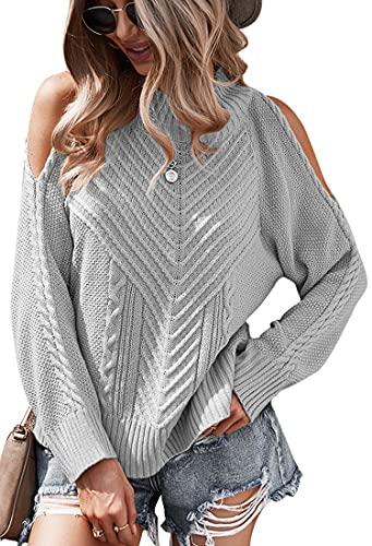 Spec4Y Pullover Damen Langarm Rundhals Schulterfrei Sexy Oberteil Elegant Einfarbig Lässig Herbst Winter Sweatshirt Strickpullover 2187 Grau Small