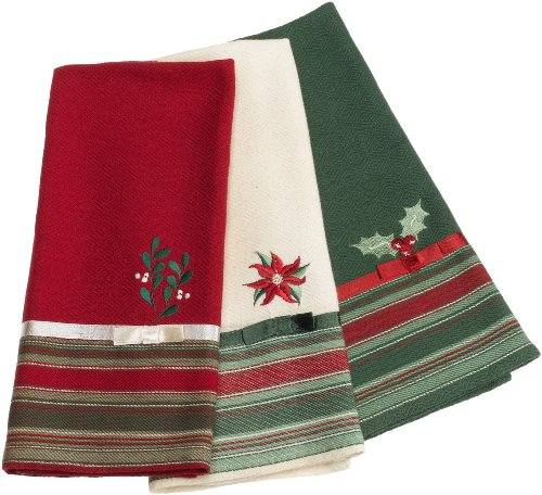 DII Holiday Embroidered Kitchen Towel, Set of 3