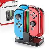 [Version Améliorée] KINGTOP 4 en 1 Chargeur Joy Con Station de Charge pour Manettes Nintendo Switch Dock avec Indicateur LED et Câble USB Type-C