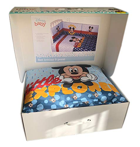 Disney - Juego de 3 piezas con protector de cuna + edredón + funda nórdica | 3 piezas con Minnie y Mickey Mouse | acolchado de protección lateral para cunas y catres