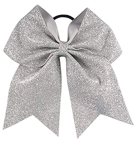 Kenz Laurenz Glitter Cheer Bows - Cheerleading Softball Gifts for Girls and Women Team Bow with Ponytail Holder Complete Your Cheerleader Outfit Uniform Strong Hair Ties Bands Elastics (1) (Silver)