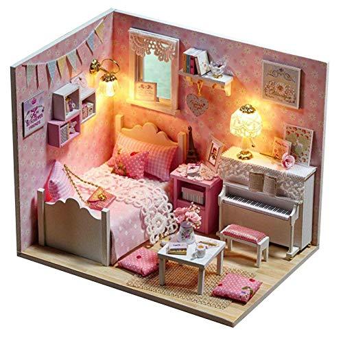 Misis Casa de muñecas artesanías de Madera pequeña casa Maqueta de Bricolaje con Muebles y Accesorios-Kit Hecho a Mano con Muebles, Navidad, (Luces LED, Movimiento Musical)