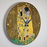 Giallobus - Reloj de línea Basic - Gustav Klimt - El Beso - Madera de MDF - Orologi Linea Basic 30x30 - Listo para Colgar - Relojes Modernos para el hogar en Madera MDF