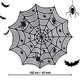 DECARETA Halloween Tischdecke Rund Schwarz Spinnennetz Spinnweben 102 cm Durchmesser Halloween Tischdeko Spinnen Netz für Karneval Halloween Party Dekoration - 7