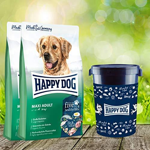 Happy Dog 2 x 14 kg + Futtertonne 43 Liter Fit & Vital Maxi Adult