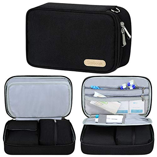 Simboom Diabetic Travel Bag, Insulin Travel Bag for Glucose Meter, Insulin Vials and Other Diabetic Supplies (Bag Only) - Black