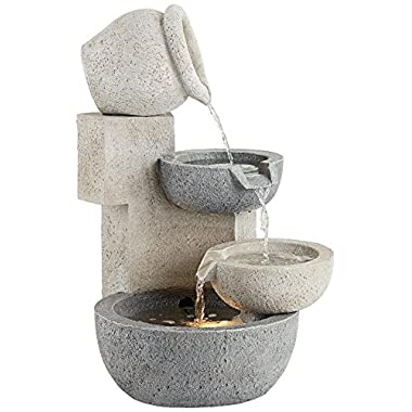 Tiered Bowl 25  High Stone LED Indoor/Outdoor Fountain
