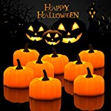 Halloween 12 Pack LED Pumpkin Lights, Jack-O'-Lantern, Small Orange Flickering Tea Lights, for Halloween, Fall Festival Decorations
