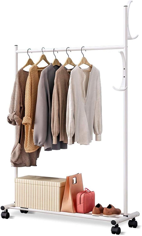 Angel's Home Simple Coat Rack Floor Hanger Bedroom Living Room Clothes Rack Modern Minimalist with Wheel Floor Hanger