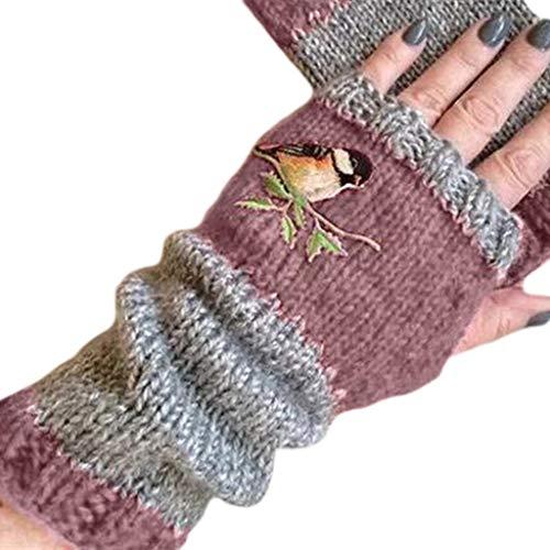 Qiman Guantes de invierno de punto para mujer, sin dedos, con diseño de pájaro, bordados, bloques de colores, para uso exterior, conducción, con agujero para el pulgar