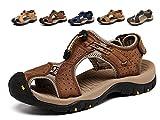 Sandalias Deportivas Hombres Verano Exterior Senderismo Zapatos Trekking Casual Zapatos de Montaña Cuero Sandalias de Playa(D-Marrón,45/46 EU,28.5CM De talón a Dedo del pie