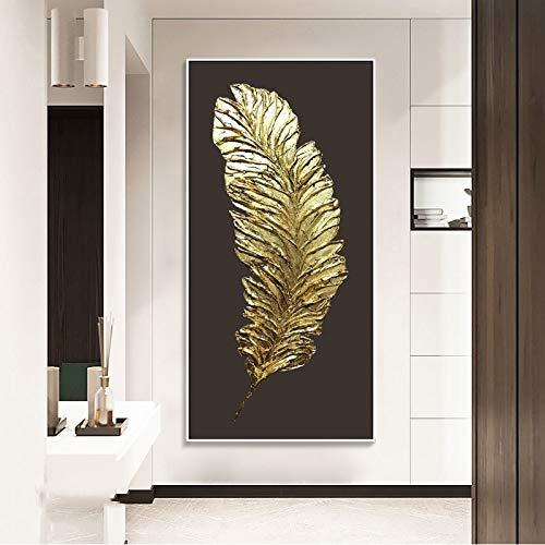 wZUN Cuadro Abstracto de la Pluma de Oro Pintura de la Lona Sala de Estar Dormitorio Entrada decoración Pintura Arte de la Pared 60x120 Sin Marco