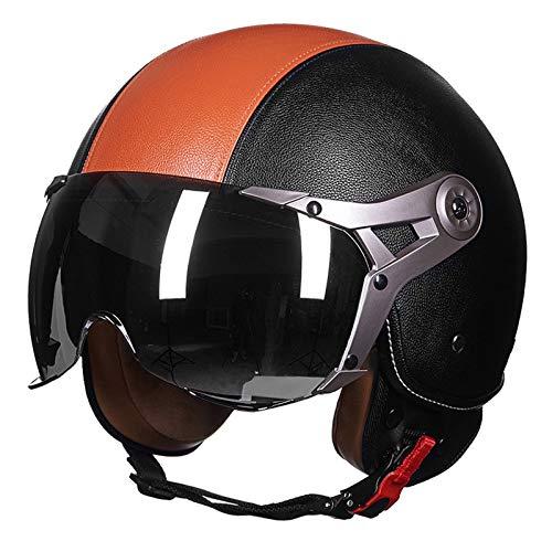 Casco da moto retrò con visiera girevole da sole, apertura viso, casco da moto, adatto per gli appassionati di sport all'aria aperta e per uomini e donne, unisex per ciclismo (colore: D)
