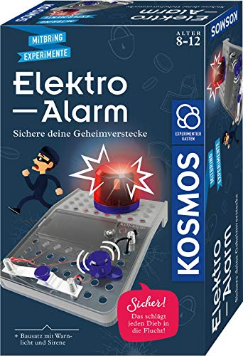 KOSMOS 658083 Elektro-Alarm, Sichere Geheimverstecke, Elektro-Bausatz für Alarmanlage, Blinkendes Warnlicht, Sirene, Experimentierset für Kinder ab 8 Jahre, Experimentierkasten, Geburtstagsgeschenk