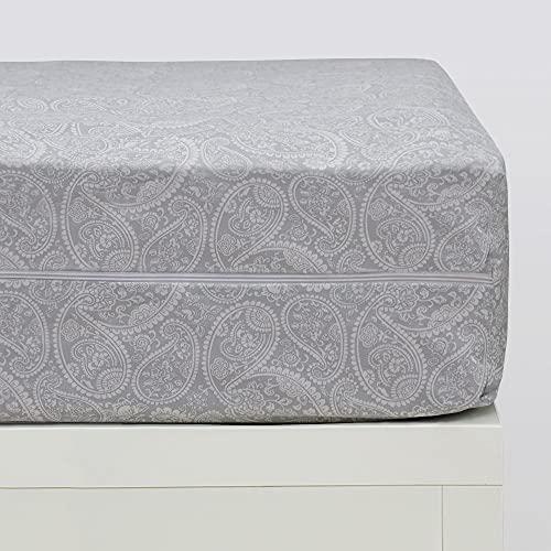 10XDIEZ Funda colchón Estampada Cashmere Gris | (90x190 cm. - Gris)