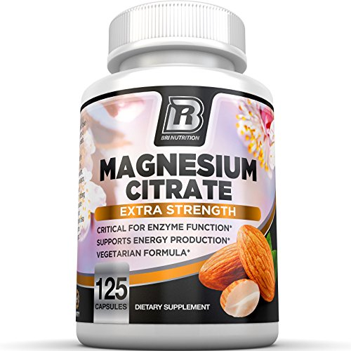 BRI Nutrition Magnesium Citrate - Pure Magnesium Supplement to Maintain Health/Bone Health, Boost Energy Levels and Support Healthy Nerve Function - 125 Count Vegetable Cellulose Capsules