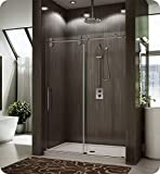 Fleurco KT69-11-40R-AY Kinetik In-Line Sliding Shower Door (Right) and Fixed Panel in Polished Stainless/Clear Glass Handles:Straight, Round Towel Bar in Chrome Finish
