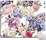 Floral Mouse Pad, Watercolor Flower Mouse Pad, Mouse Mat Square Waterproof Mouse Pad Non-Slip Rubber Base MousePads for Office Laptop Computer