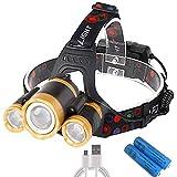 ヘッドランプ USB 充電式 LED センサー機能付き 12000ルーメン 120°調整可能 2つの18650バッテリー付き 軽量 防水 SOSフラッシュ機能