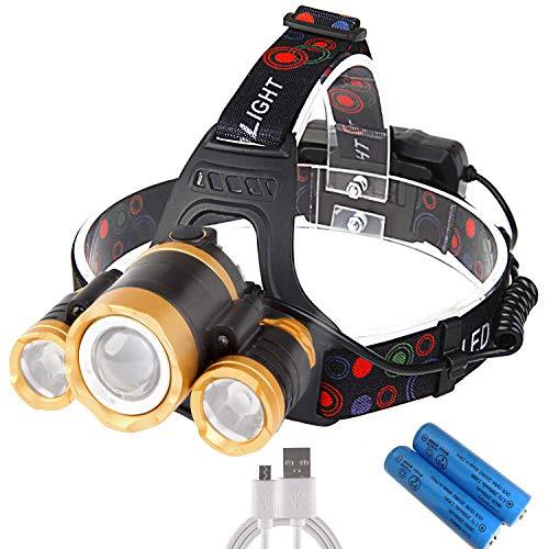 ヘッドライト LED ヘッドランプ USB 充電式 センサー機能付き 120°調整可能 2つの18650バッテリー付き 超高輝度 12000 ルーメン 軽量 防水 防災 登山 夜釣り キャンプ ランニング サイクリング アウトドア 作業用 ヘルメットライト SOSフラッシュ機能