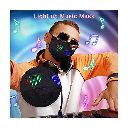 Jingobel LED Glasfaser APP Leucht Mundschutz Waschbar Schlauchtuch Bunt Wiederverwendbar Atmungsaktiv Mund und Nasenschutz Stoff Tuch Halstuch Bandana (Schwarz 1PC)