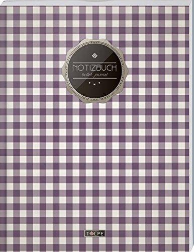 """TULPE Bullet Journal A4 """"C069 Picknick"""" (140+ Seiten, Vintage Softcover, Punktkariertes Papier – Punktraster Notizbuch, Handlettering, Skizzenbuch, Zeichenbuch)"""