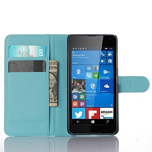 Ycloud Tasche für Nokia Microsoft Lumia 650 Hülle, PU Ledertasche Flip Cover Wallet Hülle Handyhülle mit Stand Function Credit Card Slots Bookstyle Purse Design blau