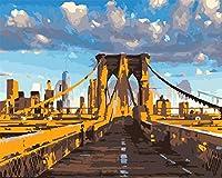 DIY数字油絵 塗り絵キット パズル油絵 橋の建物 数字キットによる絵画 子ども塗り絵 手塗り デジタル油絵 ホームデコレーション 40x50cm(額縁なし)